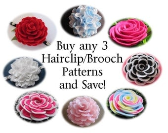 Felt Flower Tutorials PACKAGE DEAL Buy Any 3 Felt Brooch Flower Patterns Hairclip Flower Patterns Headband Flower Patterns and SAVE