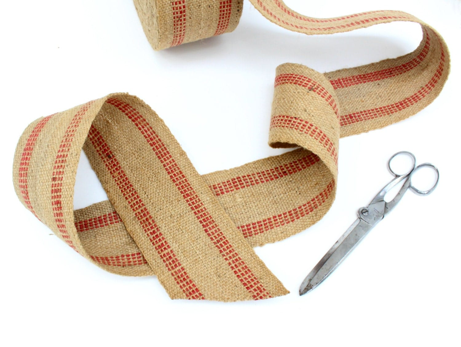 Rustic vintage burlap ribbon by the yard red striped for How to use burlap ribbon