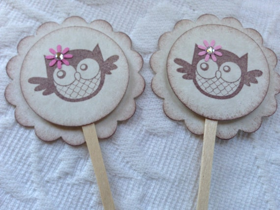 Set of 12 Baby Girl Owl Cupcake / Food Picks - Pink Flowers With Rhinestone Center - Baby Shower -  Birthday Party