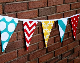 Fabric Party Banner- Yellow Turquoise Red Pennant Flags- Photo Prop- Bunting Banner- Nursery Decor, Wedding Shower, Reusable Garland