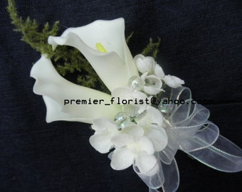 Set of 2,3,4 Corsages TRUE TOUCH CALLA Lily. White Ivory Wrist or Pin-on Corsages. Real Touch Artificial Silk Flowers. Destination Wedding