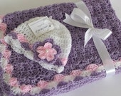 Crochet Baby Blanket / Afghan, Lavender Pink White ,  Blanket and Hat, Baby Girl Shower Gift Crochet Baby Set