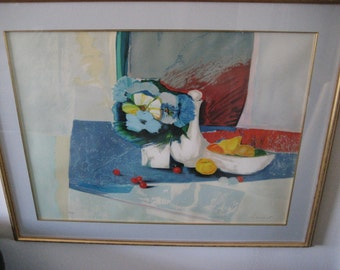"""Claude Hemeret Lithograph """"Nappa Bleu"""" 1980, Signed Framed And Ready For Hanging"""