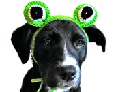 Frog Costume for Dogs - Hand Knit Dog Hat - Dog Halloween Costume - Custom Sizing