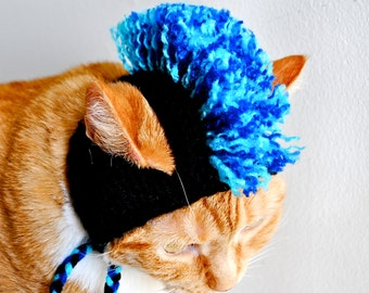 Mohawk Cat Hat - Black and Blues - Hand Knit Cat Costume