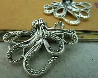 6 pcs 43x35mm The Octopus  Silver color  Pendant Charm For Jewelry Pendant C4080