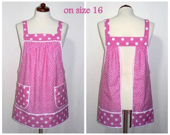 Pink Polka Dot Pinafore Apron, no tie apron, all day apron, retro style made-to-order XS to Plus Size, loose fitting great for maternity