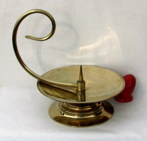 Vintage Solid Brass Pillar Light: Vintage Solid Brass Large Pillar Candle Holder With By