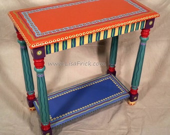 SOLD sample of CUSTOM WORK- Side Table- Custom Hand Painted Furniture Made to order