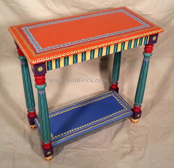 Funky Custom Hand Painted Side Table