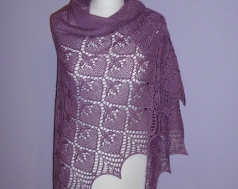 Heather hand knitted triangular lace shawl, luxurious Babyalpaca and Silk shawl /READY TO SHIP/