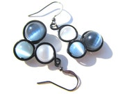 Shades of Grey Cat Eye Bead Earrings Wrapped with Black Craft Wire