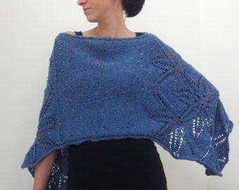 Hand Knit Poncho with Lace Motif, Deep Blue Tweed Yarn