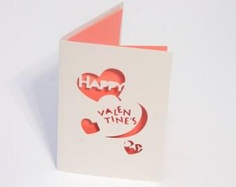 Conversation Heart Valentine Card - Happy Valentines Day - Cut Paper Card