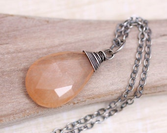 Sterling Silver Necklace, Gemstone Necklace, Caramel Rutilated Quartz Pendant Necklace, Wire Wrapped Necklace