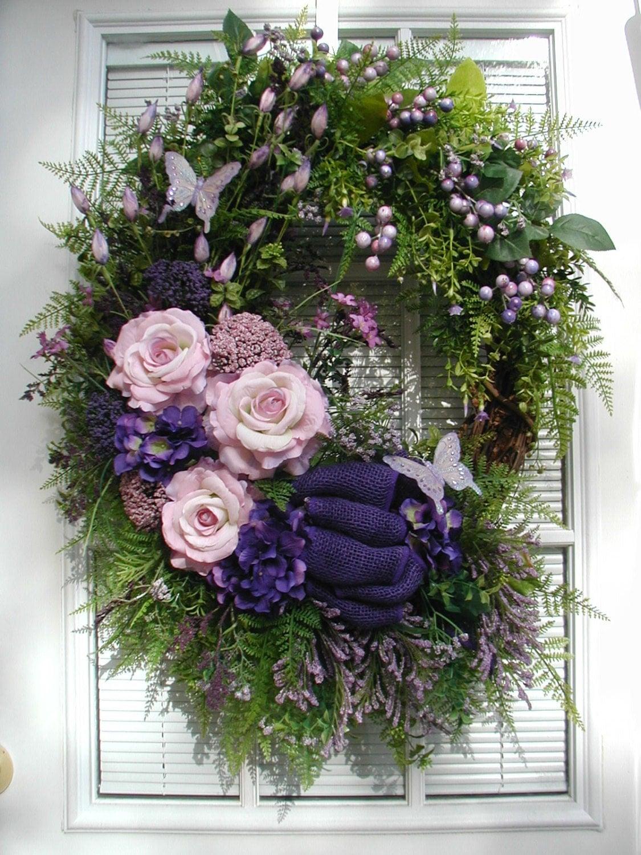 spring wreath summer wreath purple pink roses  petalsnpicks