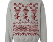 Sharks Ugly Christmas Sweater Flex Fleece Pullover Classic Sweatshirt - S M L XL and XXL (3 Color Options)