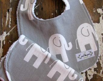 Bib & Burp Cloth Set - Elephants on Grey - Baby Boy or Girl - Gender Neutral - Baby Gift Set