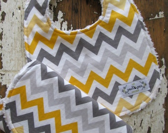 Gray & Yellow Chevron Bib and Burp Set - Gender Neutral - Baby Gift Set - Baby Boy - Baby Girl