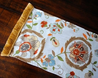 Ready to ship-Linen Tablecloth -Table Runner-Montmartre-Tan-Orange-Coffee Table, Dining Table, Entry Table, Dresser