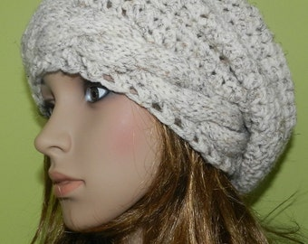 Handmade Cabled Slouchy Beanie, All Seasons Stylish Light Chunky Cap, Hipster Cap, Boho Baggy Hat, Gift under 50