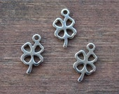 4 Stainless Steel Shamrock Charms 12mm Four Leaf Clover