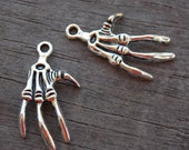 8 Silver Skeleton Hand Charms 32mm