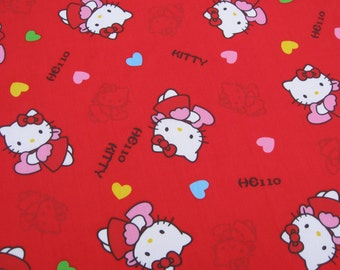 C714 - 1 meter Cotton Twill  Fabric - hello kitty and hear on red