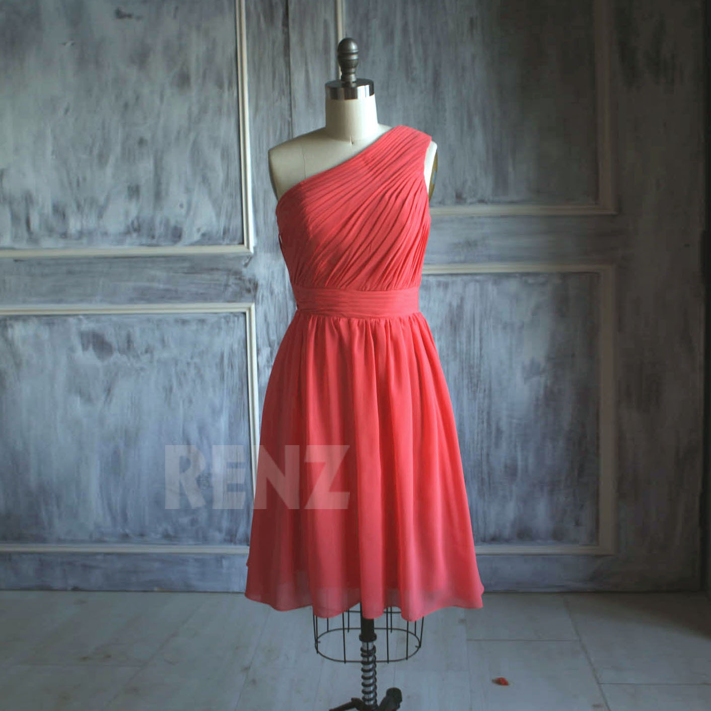 Short bright red bridesmaid dress orange red cocktail dress zoom ombrellifo Gallery