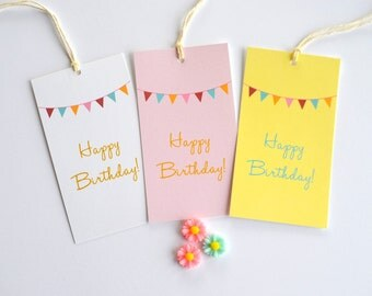 Happy Birthday Gift Tags - Gift Packaging - Set of 10 - Pennant Tags