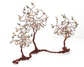 Wire Trees Tiny Forest Home Decor Rustic Branch Beaded Art Sculpture or Centerpiece Custom Colors