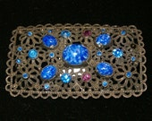 "Vintage 1930's or Earlier, Large Brooch, Blue Stones, May be Silver Tarnished Setting, Unknown Metal, No Marks, Needs Repair, 2 1/2""L"