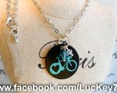 Blue Bike Necklace, Custom Aluminum Charm with Blue Bike and Crystal Beads, Bicycle Necklace, Girls Bike Jewelry, Bike Jewelry, Personalized