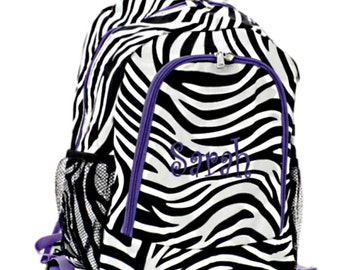 Personalized Girls Backpack - Zebra and Purple