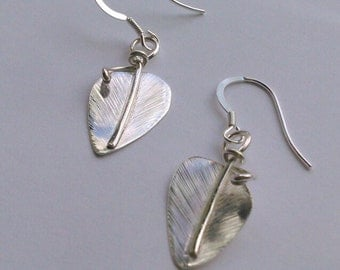 Sterling Silver Leaf Earrings by Arcturus Jewellery