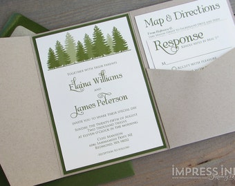 Rustic Evergreen Tree Forest Wedding Invitation Sample | Flat or Pocket Fold Style