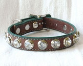 Small Dog Collar,  Leather Dog Collar for a Small Dog, Brown with Green and Crystal Rivets