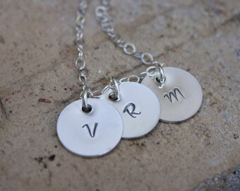 Moms Initial Necklace, Three Initial Charms, Family Jewelry