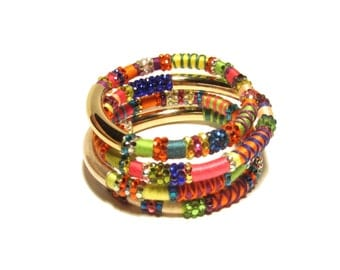 Swarovski Encrusted Tribal Masai Collection Bangles