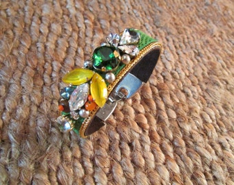 Luxury Green Snake Skin Swarovski Embroidered Bracelet - green tones with touch of orange
