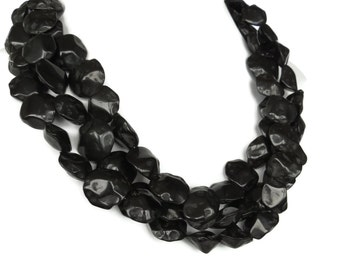 Black Stone 3 Strand Necklace - Black Necklace - Elegant Black Necklace - Rustic Black Necklace - Black Jewelry - MORE COLORS AVAILABLE