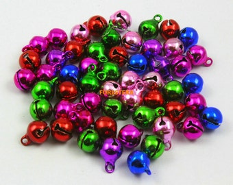 100Pcs 8mm Mix Color Bells Jingle Bells Charm Bead (CSLD8)