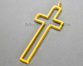 25 Bright GOLD 41mm Outline CROSS Charm Pendant - 41x16x2mm Nickel Free Metal Long Cross Boho Charm - USA Wholesale Discount Charms - 5847