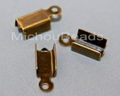 100 Antiqued GOLD Bronze 12mm Fold Over Cord End TIP Crimp - 12x4mm w/ 3.5mm Inside Nickel Free Cord Crimp - Instant Ship from USA - 5854