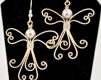 Wire wrapped Angel earrings. 14K gold filled handmade.