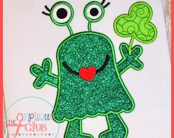 Silly Girl Monster St. Patrick's Day Shirt Personalized Applique