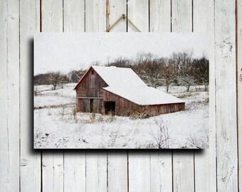 Winter Red Barn - Winter photography - Old Barn photography - Old Barn in Snow photography - Winter Decor - Winter art