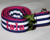 Girls Name Belt Navy Stripes and Hot Pink