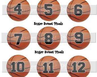 INSTANT DOWNLOAD Basketball  Numbers 1 inch circle digital bottlecap Images