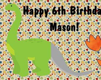 Dinosaur pin the tail on the dinosaur personalized party game for Pin the tail on the dinosaur template